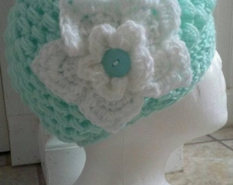 FREE SHIPPING-Hand Crochet-Brimmed Flower Puff Stitch Newsboy Style Hat-Soft Mint Color Hat-White Shimmer Flower- Size Kids -Photo Prop