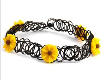 Yellow Sunflower Stretch Black 90's Choker Necklace