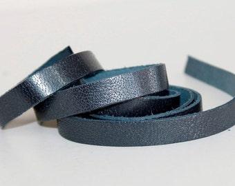 15mm Wide Metallic Genuine Leather Strap, Dark  Gray Blue  1 Yard