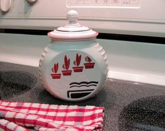 Fire King Grease Jar / Vitrock Grease Jar with Flower Pots