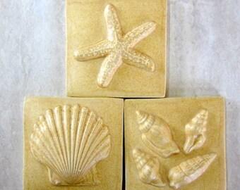 Handmade Ceramic SeaShore tiles -- Set of Three 3x3 inch tiles in Ivory Beige Semi-Matte glaze, Starfish, SeaShells, Scallop Shell, IN STOCK