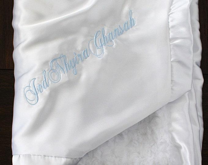 Customizable Minky Blanket, Blessing Blanket, Baptism blanket, Christening Blanket, Embroidered Blanket, White and blue baby boy