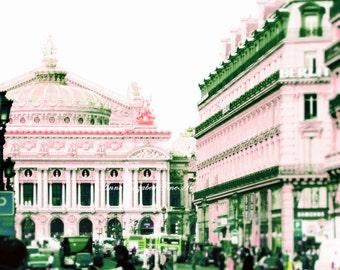 Paris Photography, Paris in Pink, Pastel Pink, Paris Opera House,Phantom of the Opera, Romantic, Pink Nursery, Travel, Parisian, Fashion Art