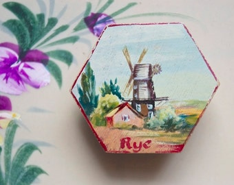 1950s Windmill Brooch Hand Painted Wooden Brooch Hexagonal Pale Blue Dark Red Souvenir of Rye Windmill