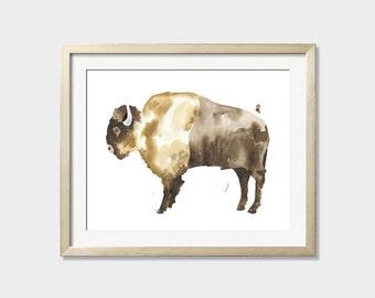 "Buffalo, Bison Watercolor Giclee Print of Original Painting 8 x 10"", 11 x 14"""