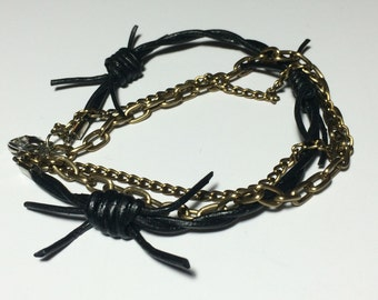 Leather Bracelet Barbed Wire with Antique Gold Chains - 7-inch, 3-strand, Black Barbed Wire Leather, Antique Gold Aluminum Chain