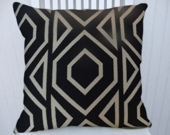 Black Abstract Geometric Pillow Cover-- 18x18 or 20x20 or 22x22  Decorative Throw Pillow Cover--Accent Pillow Cover