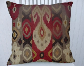 Red Gray Ikat Pillow Cover, Decorative Pillow, 18x18 or 20x20 or 22x22- Ikat Throw Pillow- Accent Pillow