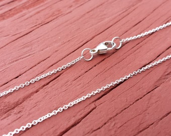"16"" To 42"" Sterling Silver Chain Necklace 1 MM Cable Chain With Your Choice Of Clasp 925 Sterling Silver"