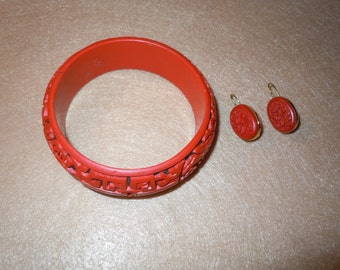 Carved Cinnabar Bangle Bracelet with Earrings.