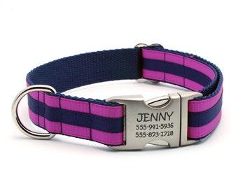 Layered Stripe Laser Engraved Personalized Dog Collar - Fuchsia/Navy
