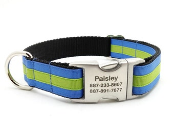 Layered Stripe Laser Engraved Personalized Dog Collar  - Columbia Blue/Apple Green