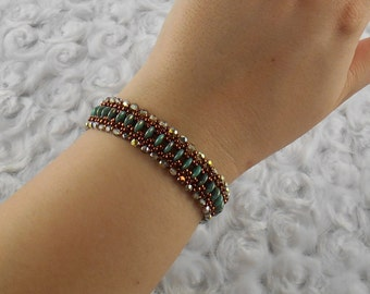 Green and Brick/Rust Two Hole Lentil Bracelet