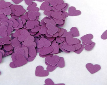 CLEARANCE - Confetti hearts 200 pcs - purple violet -  cardboard party wedding scrapbook crafts