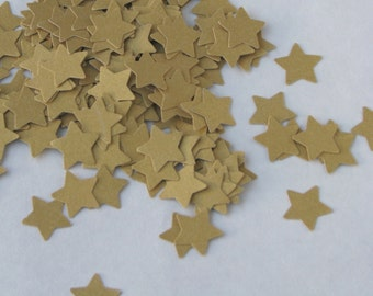CLEARANCE - Confetti stars 200 pcs - gold shimmer glitter -  cardboard party wedding scrapbook crafts