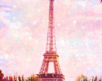 Pink Eiffel Tower Photo, Paris Photography, Pink Paris, Eiffel Tower Pink Hearts, Pastel Eiffel Tower, Paris Art, Nursery Art