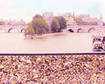Paris Love Lock Photography, Paris Love Locks Print, Pont des Arts, Lock Bridge, Pink Paris Wall Art, Bedroom Decor