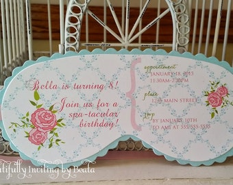Shabby Spa  Sleeping Mask Invitation Custom Die Cut - Perfect for Sleepover  Birthday, Beauty or  Spa Themed, or Glam Camp  Parties