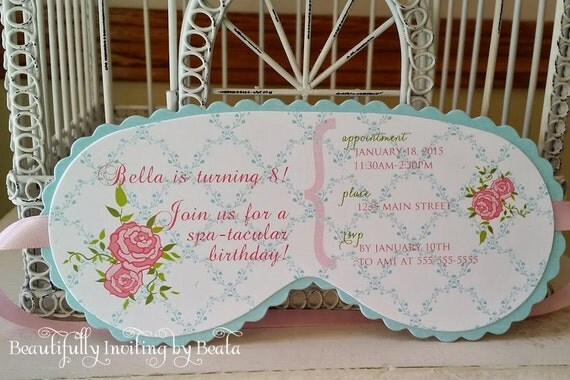 Shabby spa sleeping mask invitation custom die cut perfect for Spa mask invitation template