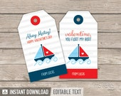 Valentine's Day Tags - Boat Theme - Nautical - INSTANT DOWNLOAD - Printable PDF with Editable Text