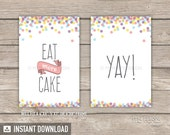 Confetti Party - Printable Signs - Sprinkles  - Pastel purple pink peach yellow blue - INSTANT DOWNLOAD - Printable PDF with Editable Text