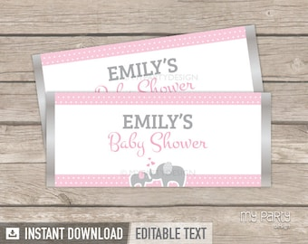 Elephant Chocolate Wrappers - Elephant Baby Shower - Girl Pink - INSTANT DOWNLOAD - Printable PDF with Editable Text