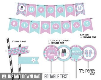 Spa Party Pack - Pink Aqua Turquoise Purple - INSTANT DOWNLOAD - Printable PDF with Editable Text
