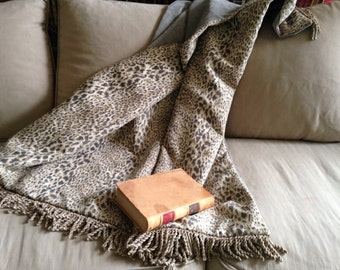 Jungle Throw Blanket,  Cheetah Animal Print, Gray Throw, African Game,  Luxurious Throws, Leopard Print, Grey Chenille Throw,Designer Accent