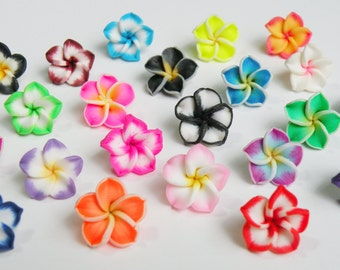 10 Colorful Plumeria Flower polymer clay beads mixed color collection 15mm PG105