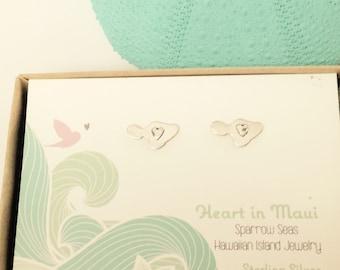 Heart in Maui Earrings, Sterling or 14K gf Studs