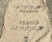 Vintage French La Poste Sack Lille Natural Linen