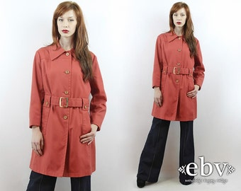 Vintage 70s Salmon Belted Trench Coat L XL Fitted Trench Coat Princess Coat Vintage Coat Vintage Jacket Spy Coat