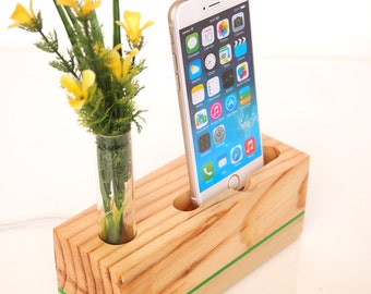 iPhone Dock plus Vase  - charging station - docking station - Decorative Bud Vase - iPhone 6+, iPhone 6S+ (gift for her)