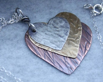 Mixed Metal Heart Necklace, Floating Heart Necklace, Silver, Copper, and Brass Heart Necklace