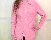Womens Long Cardigan / 60s Sweater Jacket / Coral Pink Cardigan Sweater / Acrylic / Tunic Cardigan
