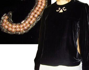 80s Goes Deco ZELDA Silk Velvet Blouse w Pearl & Bead Appliques BLACK Bust 37