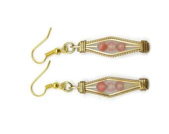 Cherry Quartz Geometric Design Earrings/Wire Wrapped Earrings