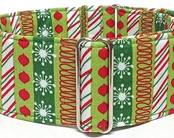Christmas Themed Greyhound, Whippet, Sighthound Martingale Collar