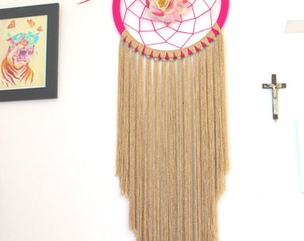 Pink and gold Handmade Dreamcatcher with flower and arrow.