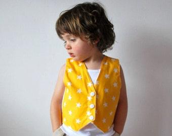 SALE - Yellow stars vest 18-24 boys waistcoat bright sunshine yellow white star kids smart outfit clown costume fancy dress babies toddler