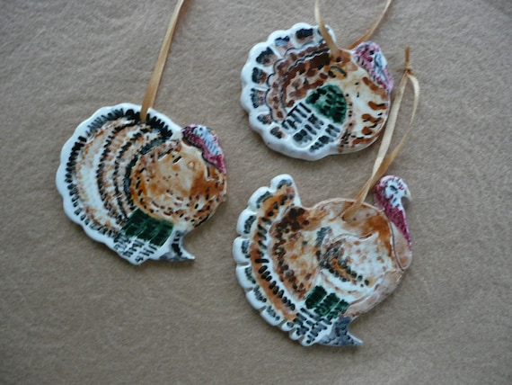 Thanksgiving Turkey Ceramic Ornaments Set Of 3 Handmade