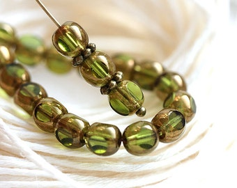 Olive green beads, czech Glass beads, Olivine with luster, round beads, spacers, round cut, fire polished - 6mm - 30Pc - 2029