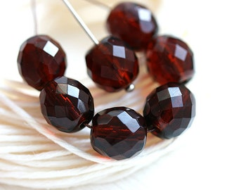 10mm Czech glass beads, Dark Topaz, fire polished, round beads, brown faceted beads - 6Pc - 2030