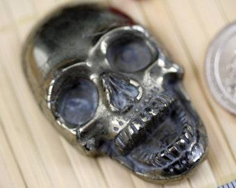 Exotic Natural Pyrite Skull Pendant Bead LN011