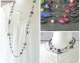 Long Colorful Necklace: Pink, Blue, Purple, and Green Multicolor Shell and Glass Jewelry with Antiqued Brass, Layering Style