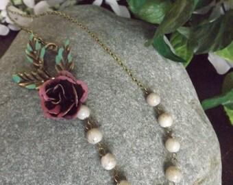 Metal Rose Flower Beaded Necklace