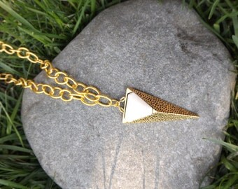 Gold and White Textured Triangle Boho Necklace