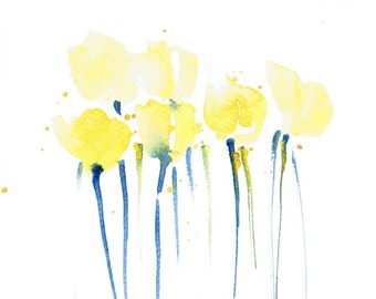 Handpainted Greeting card,  Watercolor Card, Spring flower, tulips, yellow, Easter, valentine's day, Blank, under 10, Handmade Exclusives