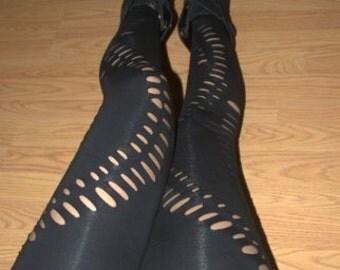 Womens Leggings - Black Shredded Leggings and Tights Cut Out fashion leggings