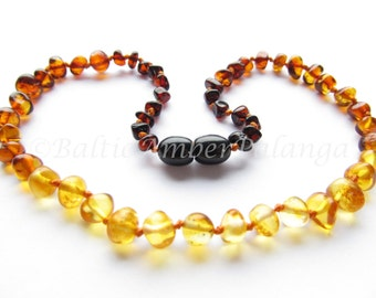 Baltic Amber Baby Teething Necklace, Rainbow Color Rounded Beads